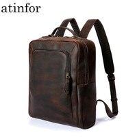 atinfor Brand High Quality Genuine Leather Vintage 14inch Laptop Backpack Men