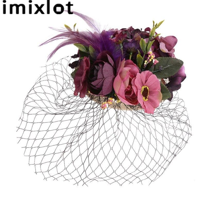De mariage Cheveux Accessoires Clips Tissu Fleur Goupilles de Cheveux de Mariée Plume Cheveux Clip Mariée Pourpre Bleu Cheveux Bijoux