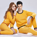 El otoño y el invierno macho y hembra más el tamaño de ropa interior térmica o-cuello pijamas
