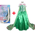 Green elsa costumes dresses with crown fever dress snow queen floral long cape princess cosplay party vestido infantil fantasia