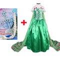 Verde vestido fiebre snow queen elsa trajes vestidos con corona floral larga capa princesa del partido de cosplay vestido infantil fantasia