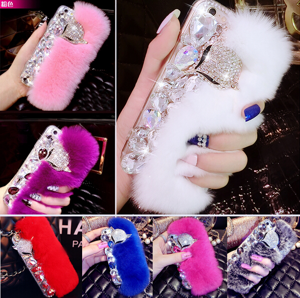 3D new Big diamond Real rabbit fur hard cover case For Apple Iphone 6 6 plus  Top quality Luxury bling Rhinestone Case