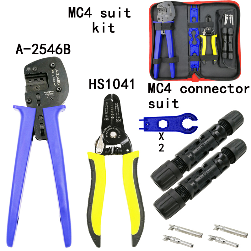 Solar pv Crimping Tool Kits for A2546B 2.5-6.0mm2 MC3/MC4 connectors solar tool set with MC4/MC3 Crimper Stripper Cutter 1pcs crimper solar crimping tool kits for 2 5 6 0mm2 mc3 mc4 connectors cable cutter pv crimp tools solar system connect