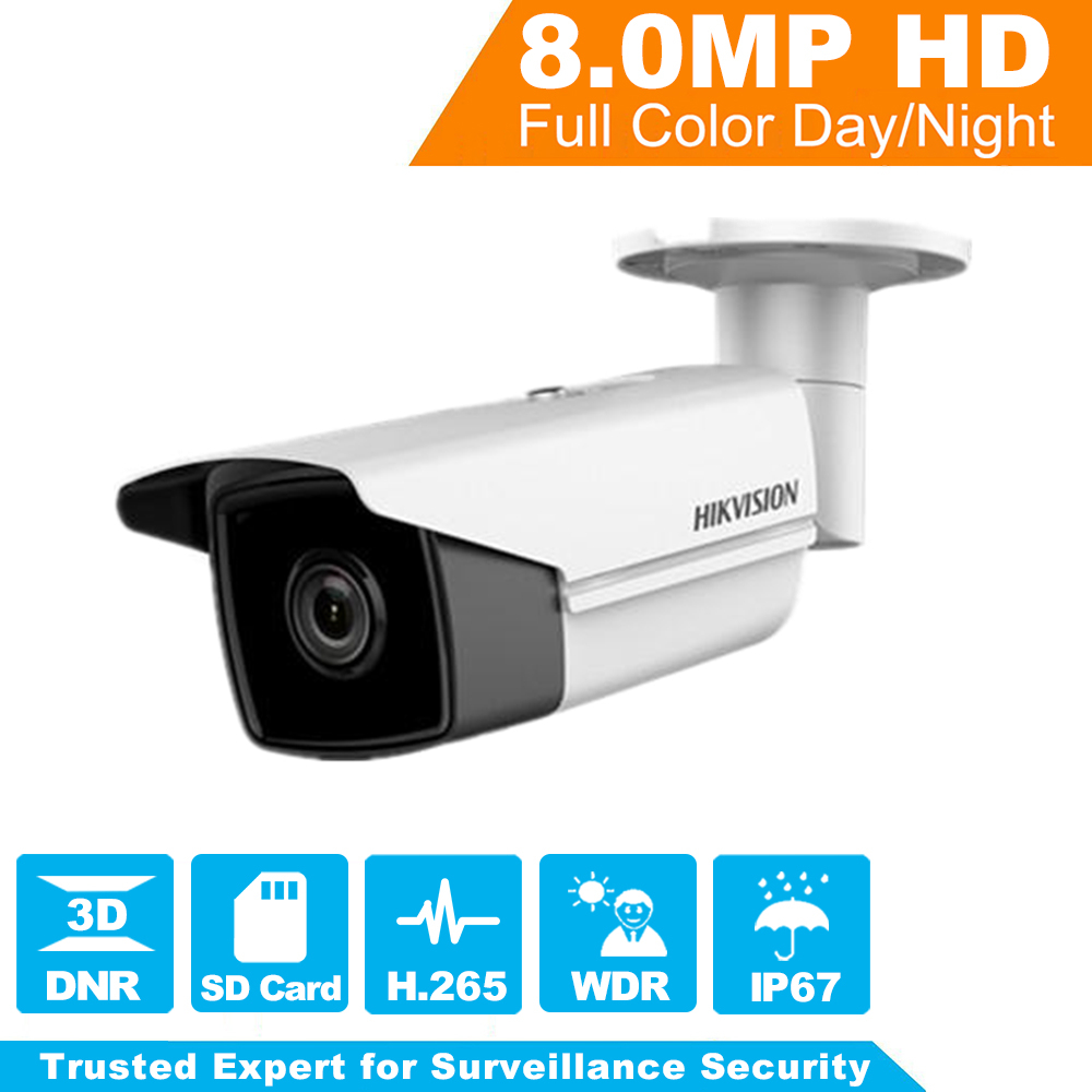 [ Original ] Hikvision H.265 Bullet IP Camera DS-2CD2T85FWD-I8 8 Megapixel Network Security Camera PoE Built-in SD Card Slot hikvision new released 8mp h 265 network dome camera ds 2cd2185fwd i 3d dnr bullet camera 3840 2160 resolution ik 10 ip 67
