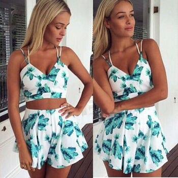 c39aeab768 2 piezas 2017 mujeres ropa de verano conjunto Flora vestido de noche de  fiesta de playa Tops + Pantalones cortos faldas mono tamaño S-XL
