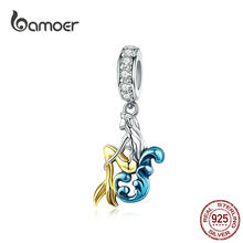 BAMOER Beauty Mermaid Pendant 925 Sterling Silver Enamel Charm fit Original Bracelets & Bangle Necklaces DIY Accessories SCC1166(China)