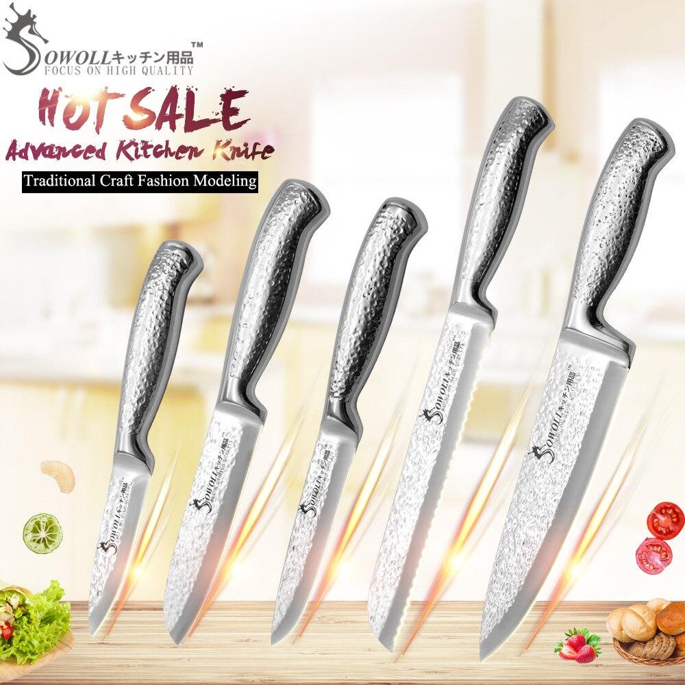 Высокое качество SOWOLL бренд нержавеющая сталь ножи для шашлыков 3,5 для очистки овощей 5 зубчатые утилита 5,5 Santoku 8 хлеб 8 шеф повар кухня