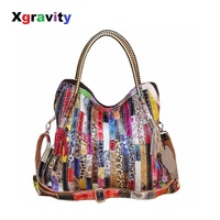 Xgravity 2019 Women Handbags Shoulder Crossbody Genuine Leather Bags Women Bolsas Ladies Tote Bag Colorful Tassel Snake Bag H155