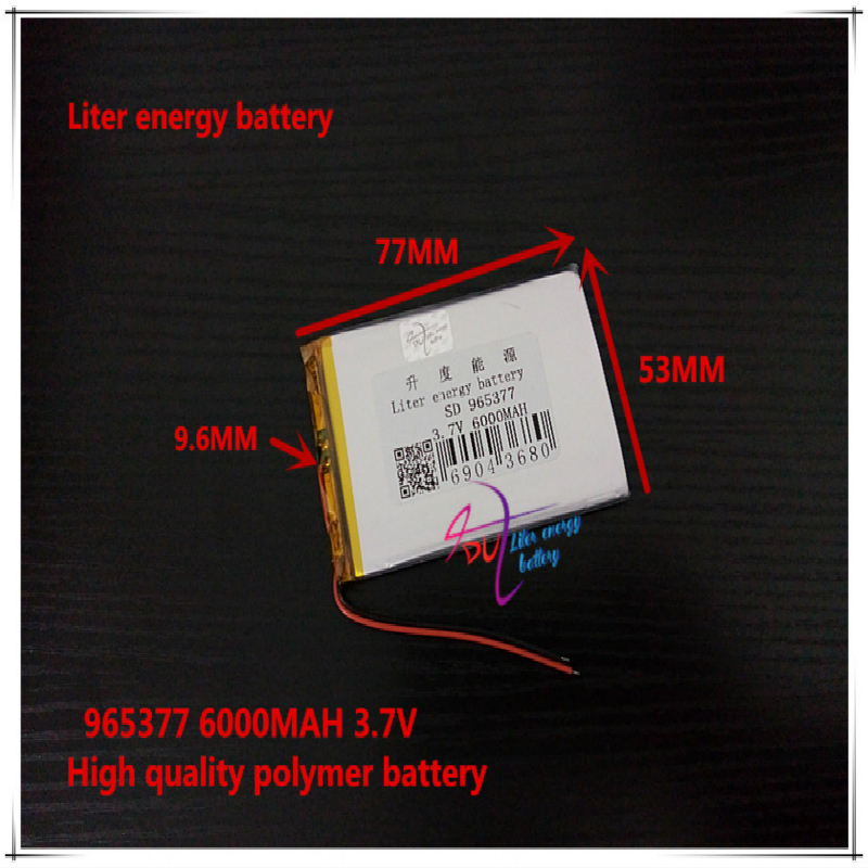 <font><b>3.7V</b></font> <font><b>6000mAH</b></font> 965377 <font><b>Polymer</b></font> <font><b>lithium</b></font> ion / Li-ion <font><b>battery</b></font> for <font><b>tablet</b></font> pc cell phone POWER BANK image