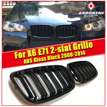 NEW Pair Glossy Black E71 Front Grille Kidney X6M look grill grills ABS 2 slat E71 X6 Front Bumper Grille With X6M MC 2008-2014
