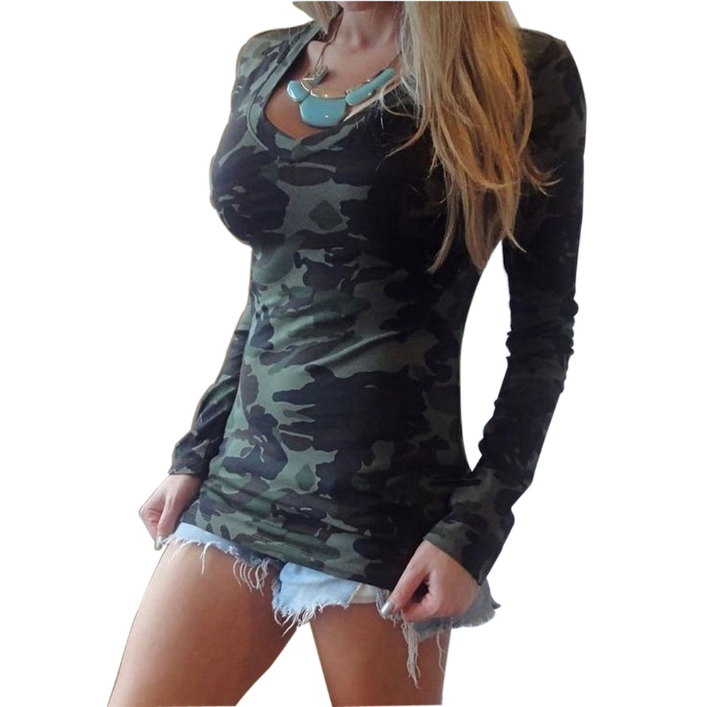 t shirt women femme de mujer 2017 sexy t shirt long sleeve vneck camouflage printing slim casua. Black Bedroom Furniture Sets. Home Design Ideas