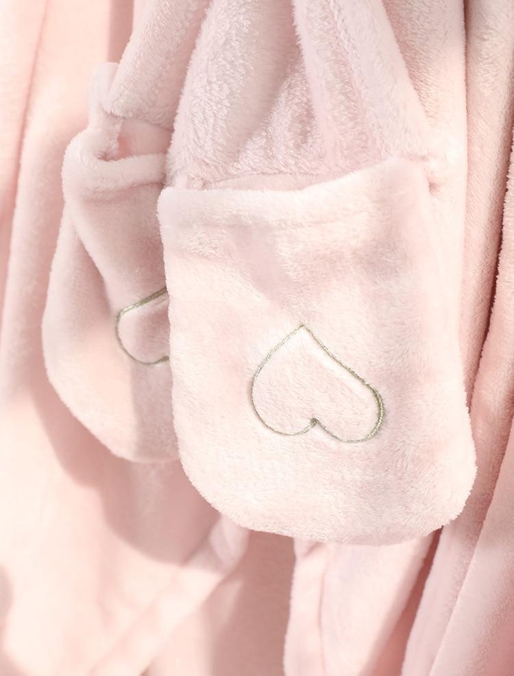 Cute Pink Comfy Blanket Sweatshirt Winter Warm Adults and Children Rabbit Ear Hooded Fleece Blanket Sleepwear Huge Bed Blankets 160