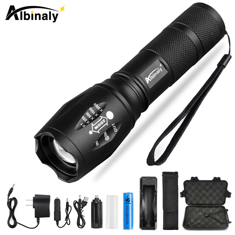 Albinaly Ultra Bright CREE XML-T6/L2 LED Flashlight 5 Modes 8000 Lumens Zoomable LED Torch 18650 Battery+Charger+Free gift zoomable led flashlight cree xml t6 zoom torchlight handheld searchlight 3 x 18650 battery charger spotlight emergency tool work