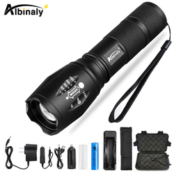 Ultra Bright LED Flashlight T6/L2/V6 led lamp bead 5 Modes 8000 Lumens Zoomable LED Torch with 18650 Battery+Charger+Free gift