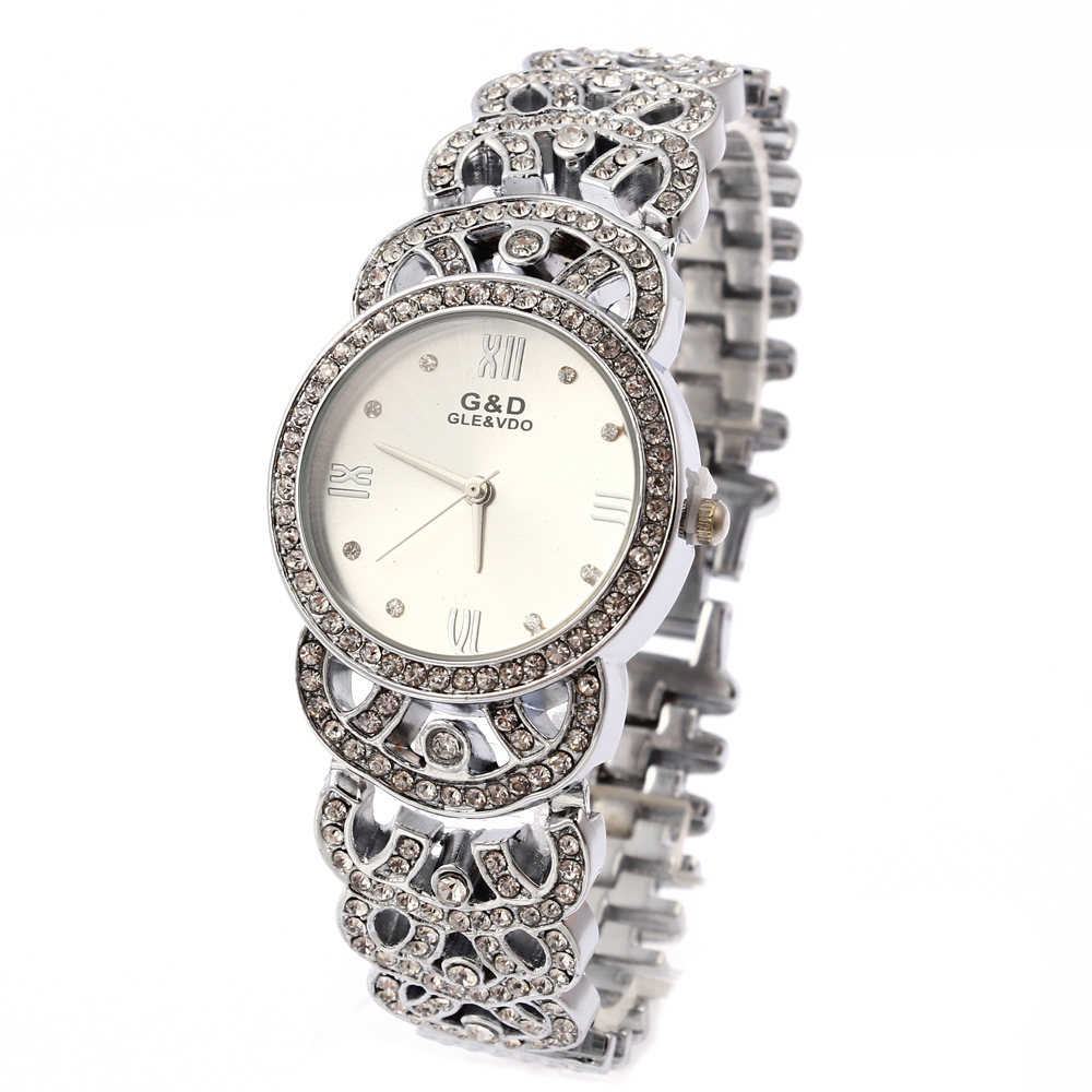 G & D Wanita Perak Stainless Steel Band Jam Tangan Fashion Wanita Berlian Imitasi Single Dial Quartz Analog Wrist Watches