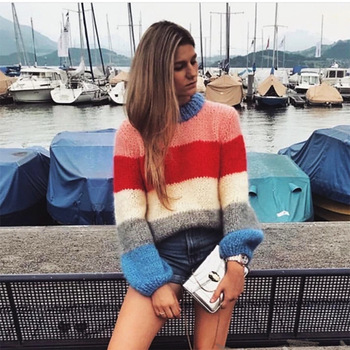 Lantern sleeve rainbow striped mohair sweater women pullovers o-neck loose knitted 2018 autumn new arrivals S,M,L