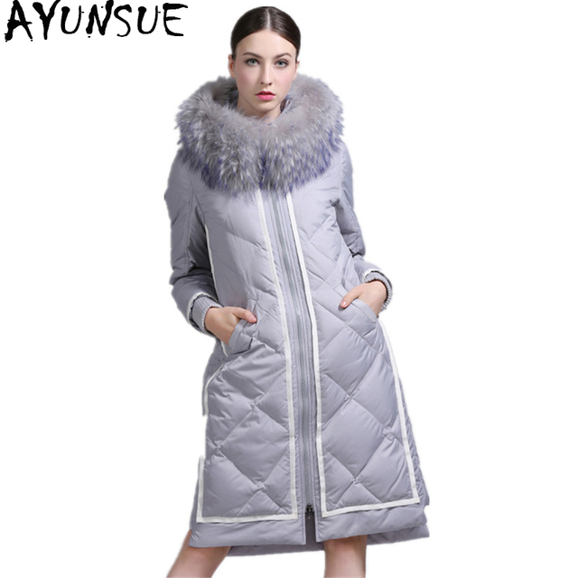 Warme Vrouwelijke Winterjas.Ayunsue Vrouwen Donsjack Lange Jas Vrouwelijke Echte Wasbeer