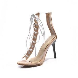 Image 4 - Женские Прозрачные ботинки MORAZORA, черные ботинки гладиаторы с открытым носком, на тонком высоком каблуке, ботильоны для женщин, лето 2019