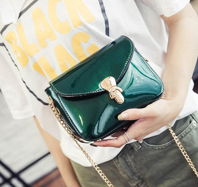 Fashion new handbags High quality PU leather Chain patent leather lock small bag Glossy Sweet girl Shoulder Messenger Female bag  2016 summer new fashion female bag embossed quality pu leather women bag handbag chain lock shoulder messenger small bag mini