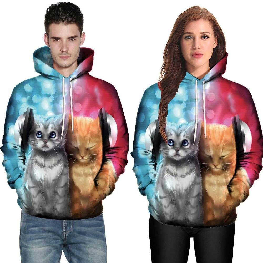 Men Women 3D Cat Couples Hoodies Top Blouse Shirts