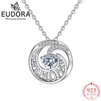 Eudora Genuine 925 Sterling Silver Round Zircon Pendant Necklaces for Women Girls Fashion Trendy Jewelry Gift Letter MOM