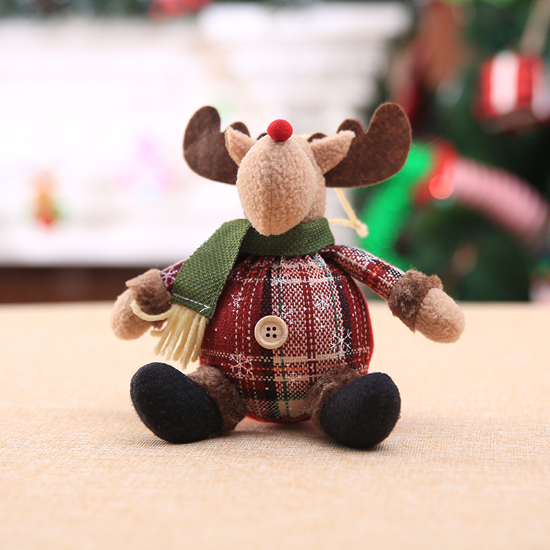 2019 Merry Christmas Tree Ornaments Christmas Decorations for Home New Year gift Children Snowflake Elk Plaid Doll Hanging Natal (6)