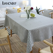 Linen Tablecloth Country Style Plaid Printed Cloth Multi-function Rectangular Home Kitchen Decoration