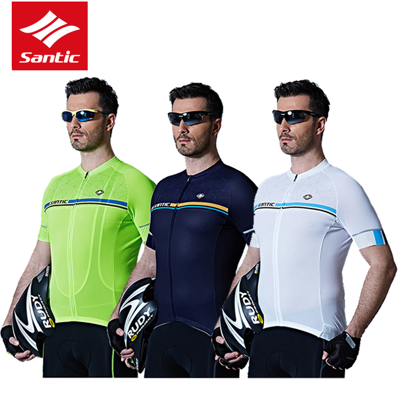 Santic Men Cycling Jersey 2017 Tour De France MTB Road Bike Jersey Anti-shlip Sleeve Cuff Bicycle Top Riding Shirt Cycle Clothes west biking bike chain wheel 39 53t bicycle crank 170 175mm fit speed 9 mtb road bike cycling bicycle crank