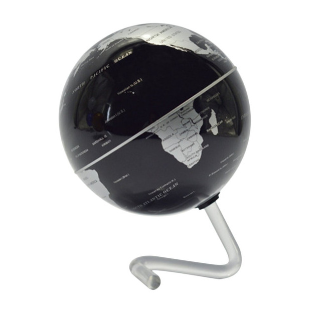 """4"""" Black Self-Rotating Geography World Tech Education Globe World Map Ornaments For Home Office Decor Craft Gift for Children"""