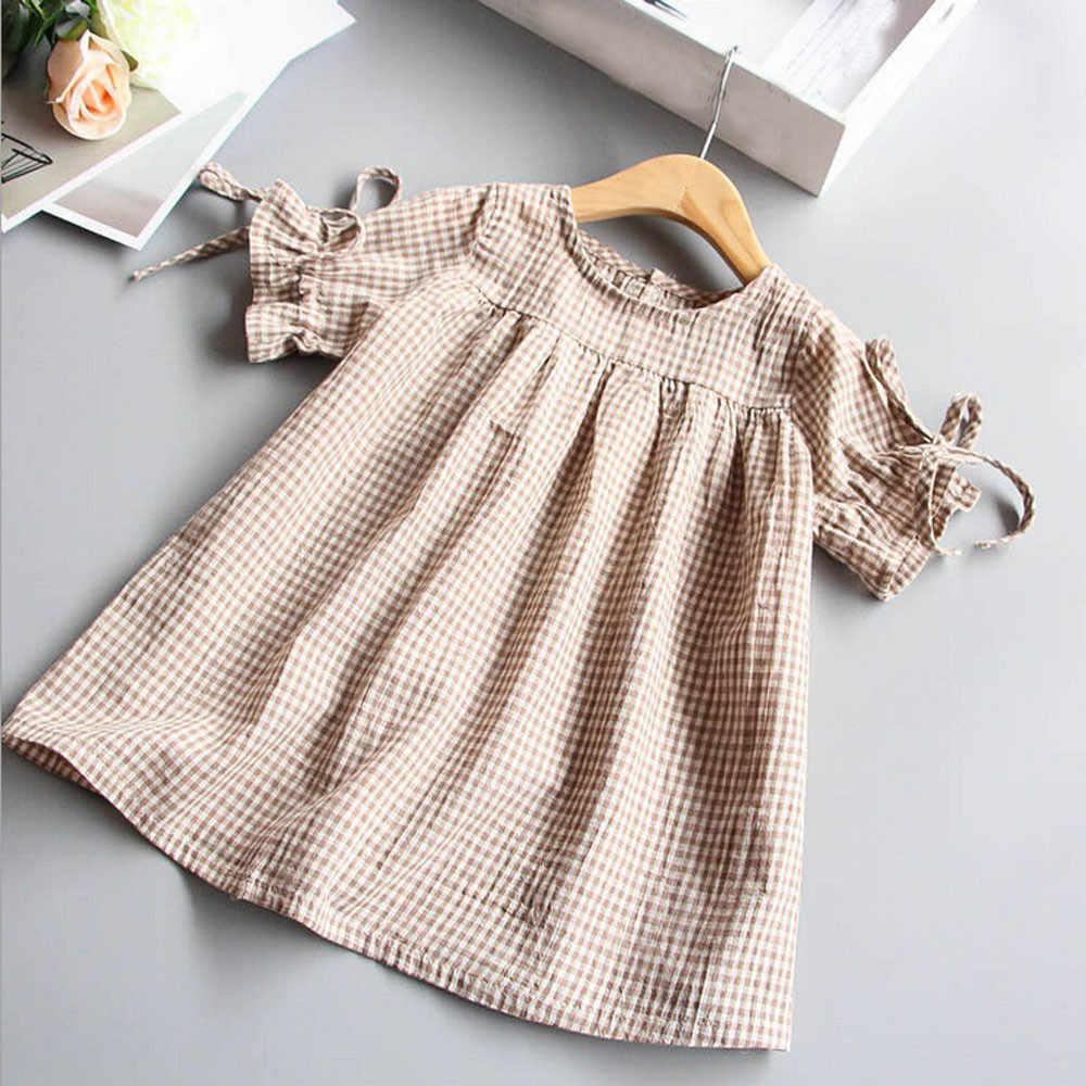 Bowknot xadrez t camisa vestido topos para a criança crianças roupas da menina do bebê bandagem mangas plissado vestidos de festa princesa primavera