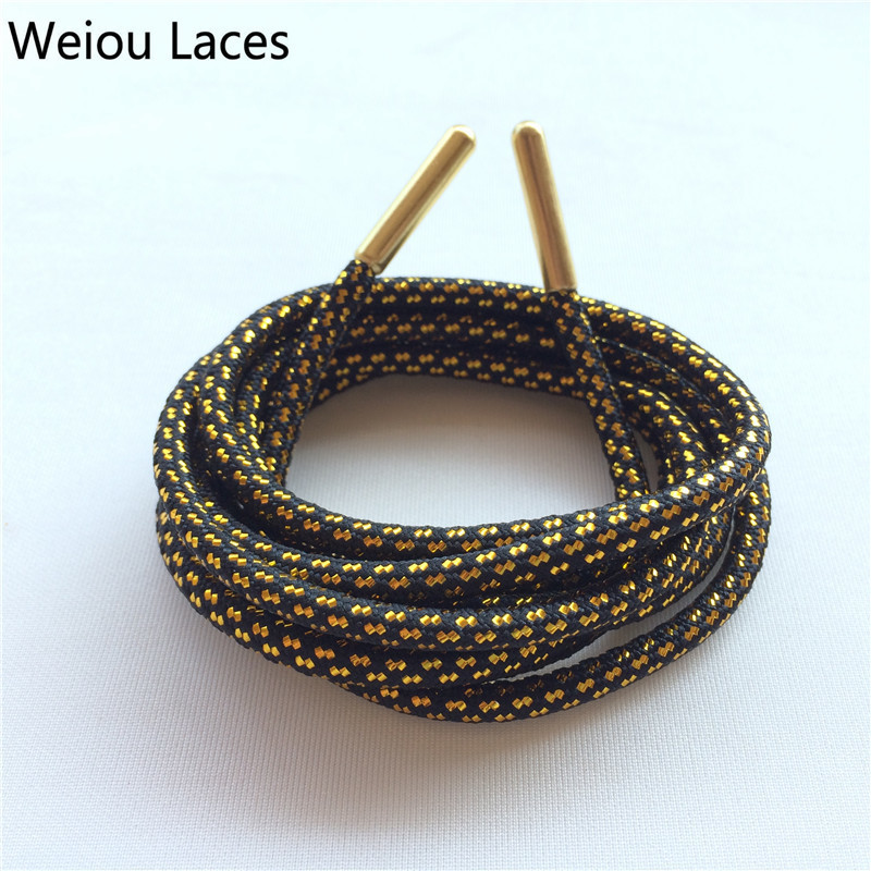 Weiou Cross Grain Black Gold Shoe Laces Sports Speckled Glitter Strings Round Novelty Dress Shoelaces Stretch For Martin Boots Shoe Accessories Shoes