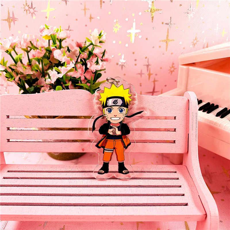 Anime Naruto Uchiha Obito Uchiha Itachi Deidara Sasori keychain acrílico dos desenhos animados double-sided pingente Chaveiro Jóias Acessório