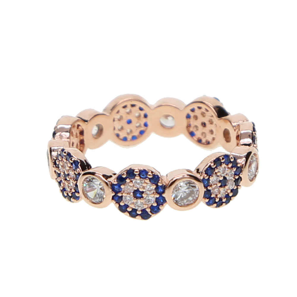 sparkling delicate rose gold copper ring promotion round cz turkish evil eye ring for women ladies kunckle finger ring