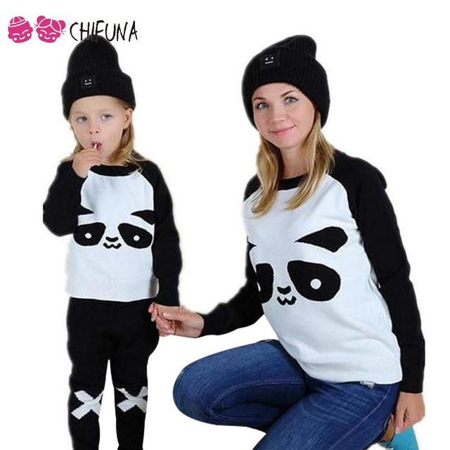 chifuna Mother Daughter Clothes Panda Knit Sweater for Girls Boys Women Mom Baby Matching Pullover Sweater Family Look Clothing
