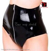 Sexy Latex Briefs high waist zipper at front Rubber Underwear shorts Underpants XXXL plus size KZ 154