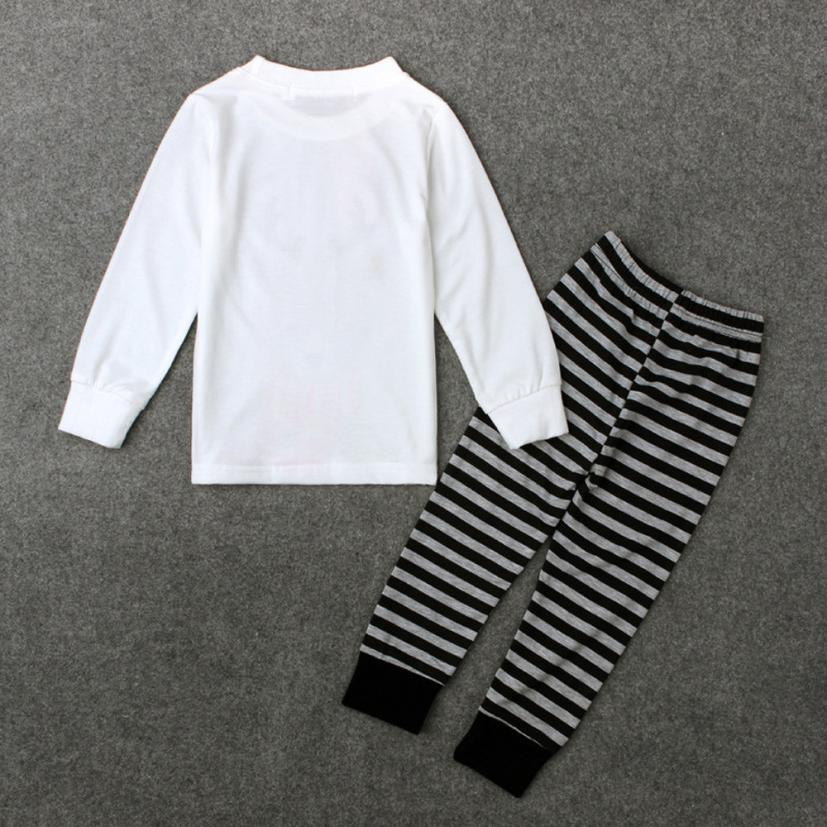 2018 2PCS Newborn Toddler Kids Baby Xmas Elk Tops+ Stripe Pants Clothes Outfits Set Comfortable And Breathable 5.30