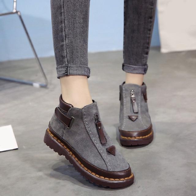 KHTAA Mulheres Flats Ankle Boots Primavera Gancho Loop Senhoras Costura Retalhos Zip Plus Size Calçados Femininos Moda Calçados Casuais 2019