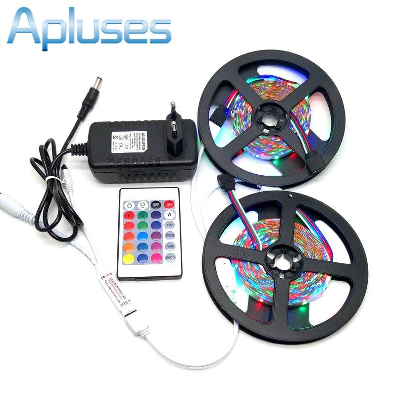 10M SMD 3528 RGB Set LED cu LED + 24Key IR controler + 12V 3A Adaptor - Iluminat cu LED