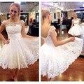 Мода белый короткий домой платья линия совок-образным вырезом открытой спиной выпускные платья из бисера тюль вечернее платье
