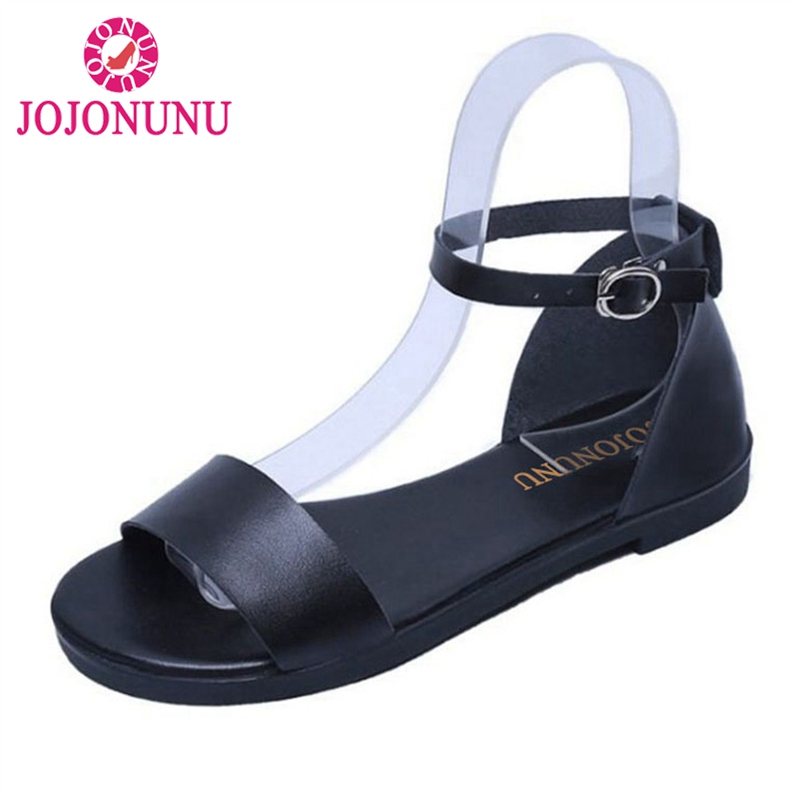JOJONUNU Women Flats Sandals Ankle Strap Shoes Woman Solid Color Flat Sandals Summer Beach Shoes Woman Sandals Size 35-39