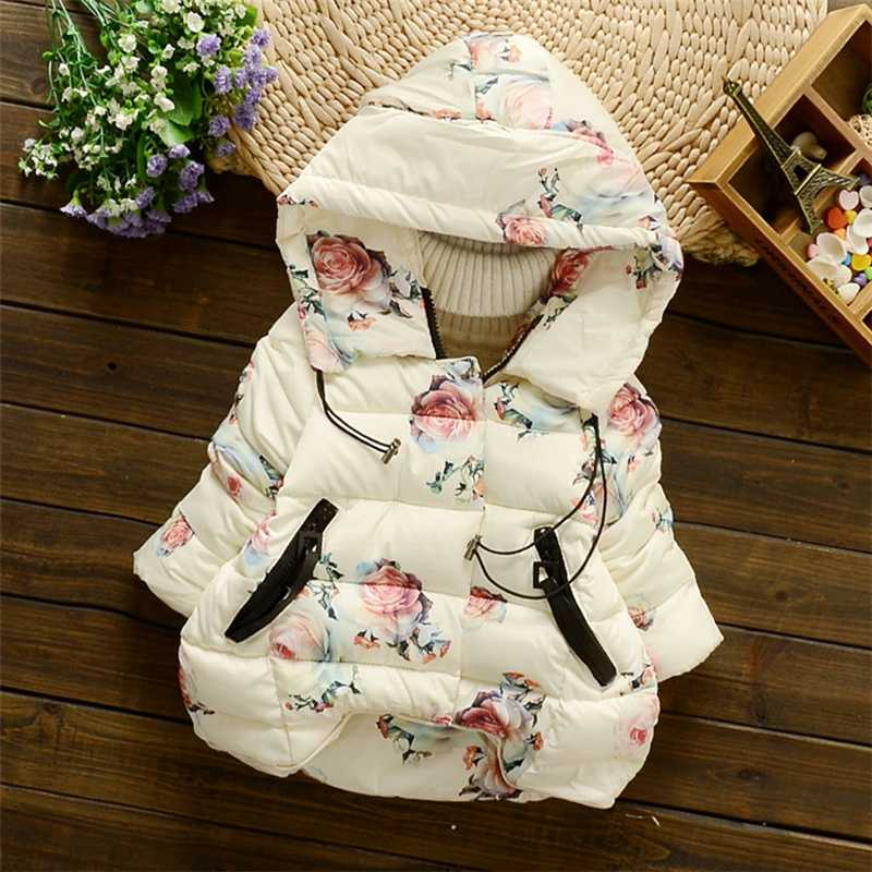 2019 Winter Baby Girls Floral Print Thick Warm Hooded Cotton Down Coats Snow Wear Children's Outerwears casaco roupas de bebe