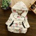 2016 Winter Baby Girls Floral Print Thick Warm Hooded Cotton Down Coats Snow Wear Children's Outerwears casaco roupas de bebe