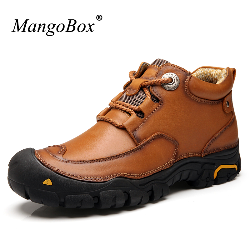New Arrival Man Shoes Leather Genuine Outdoor Boots Big Size Men Casual Shoes Autumn Winter Warm Shoes Anti Slip Sneakers Men autumn winter men high leather shoes casual boots 2017 new autumn winter men boots zipper leather shoes