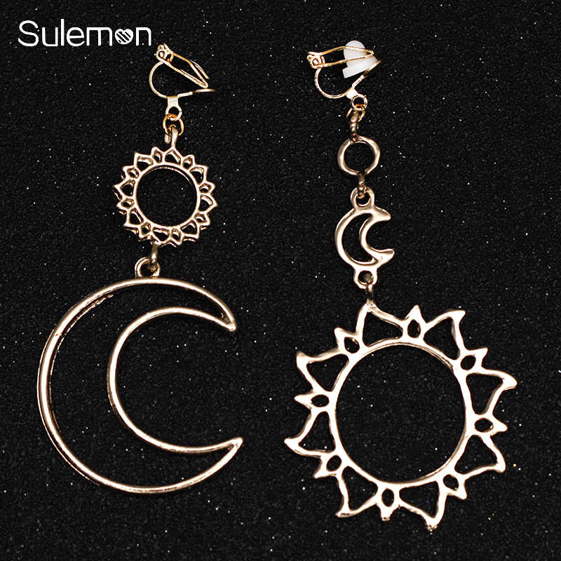 Stars Moon Sun Earrings No Hole Ear Clips Geometric Metal Hollow Line Clip Earrings non pierced earrings Gift CE369