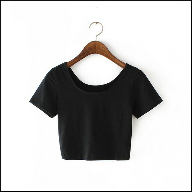 New Women U neck Sexy Crop Top Ladies Short Sleeve T Shirt Tee Short Basic Stretch OneSize