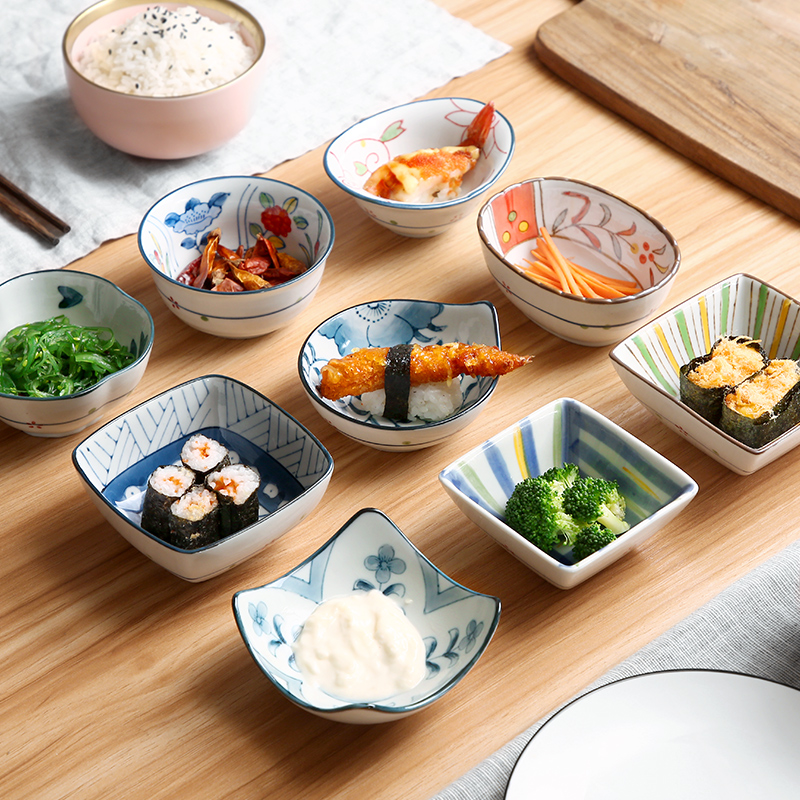 Oneisall Japanese-style Plate Dishes plates Sets Dinner Breakfast Lunch Dish Dinnerware Set Ceramic glaze 8 & 10 inch soy sauce