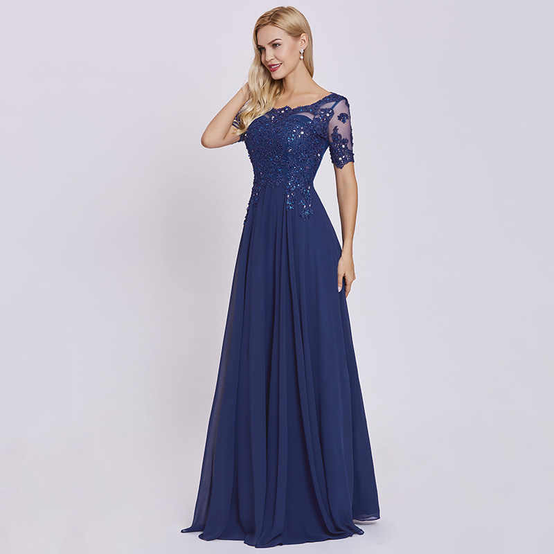 d724fbcd1aa ... Tanpell Dark Royal Blue Long Evening Dress Lace Beaded O Neck Short  Sleeves Women Formal Prom ...