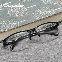 Iboode Halb Rahmen Lesebrille Presbyopic Brillen Männlich weibliche Weit anblick Gläser Ultra Licht Schwarz mit festigkeit + 75 zu + 400|Lesebrillen|   -