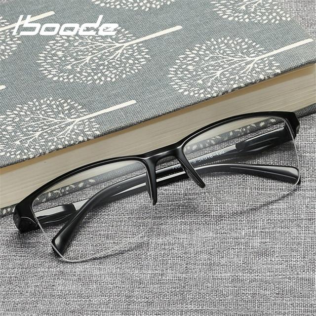 Iboode Metade Quadro de Leitura Óculos Para Presbiopia Eyewear Masculino Feminino Óculos Ultra Light Preto com força + 25 Longe da vista para + 400