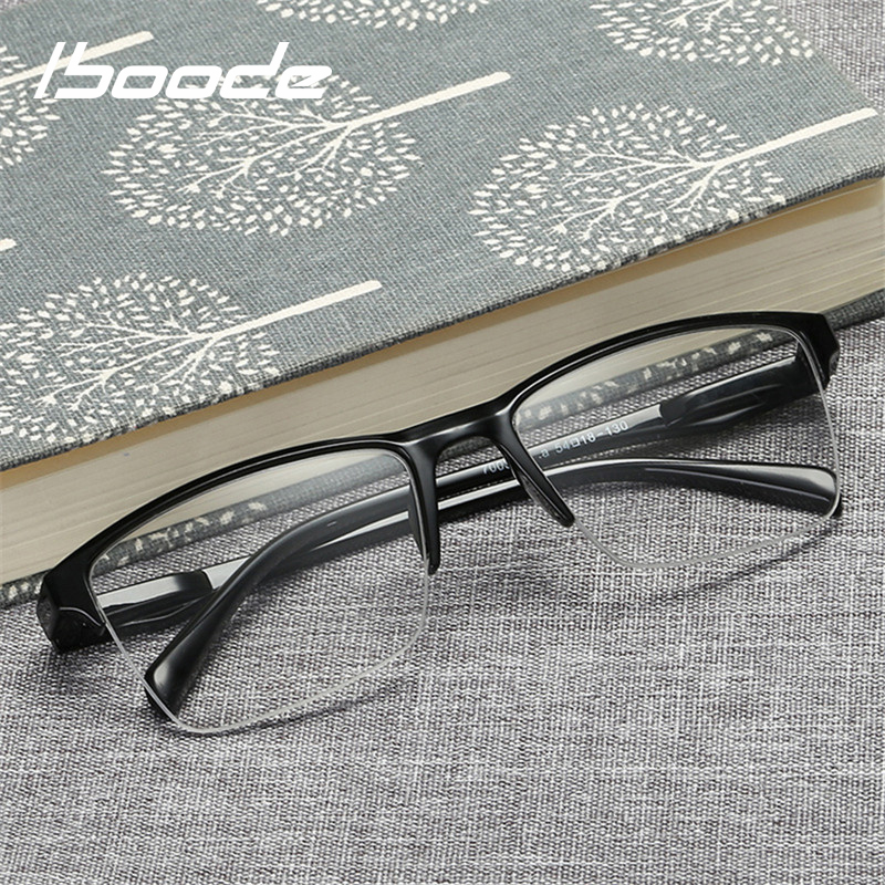 Iboode Half Frame Reading Glasses Presbyopic Eyewear Male Female Far Sight Glasses Ultra Light Black With Strength +75 To +400